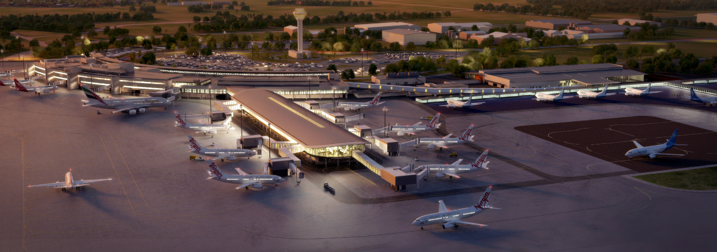 Overview of T1 redevelopment. International terminal left, domestic pier centre, terminal WA right. Image: Perth Airport
