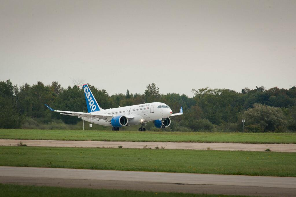 FTV1 lifts its nose of the runway for the first time. Image: Bombardier Aerospace.